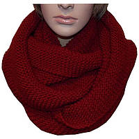 Красный вязаный зимний шарф - снуд объемной ручной вязки