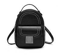 Рюкзак сумка (трансформер) городской женский из эко кожи с заклепками (черный)