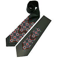 Мужской вышитый галстук из льна №679