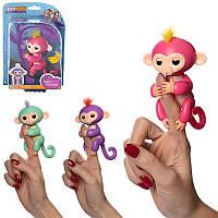 Фигурка Обезьянка (мавпочка) Fingerlings на палец интерактивная 12 см 708 FNG, 3 цвета, на листе, 15-22,5-7 см