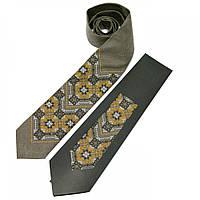 Мужской вышитый галстук из льна серо-зеленого цвета №678