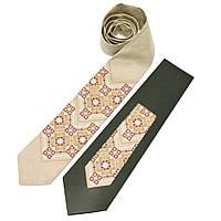 Мужской вышитый галстук из льна бежевого цвета цвета №677