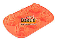 Форма для выпечки силиконовая (6 цветков роз) 26х17х3см ОРАНЖЕВЫЙ Empire (EM-0056-1)