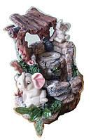 Фонтан декоративный комнатній светлая семейка Слонов на Водопад под деревом 27=22=16 СЛОН