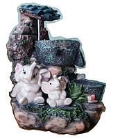 Фонтан декоративный мини светлая семейка Слонов на Водопад под деревом 27=22=16 СЛОН