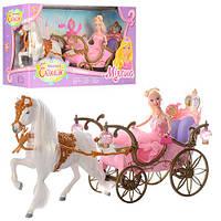 Карета с лошадью для Золушки 207A с куклой 29см. Световые и звуковые эффекты.
