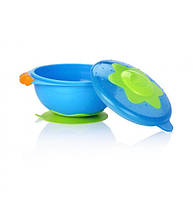 """Тарілка на присосці з кришкою для СВЧ """"Ульот! Посуд!"""" Nuby 5322"""