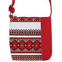 Красная сумка для девочки с принтом Вышиванка