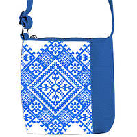 Синяя сумка для девочки с принтом Вышиванка