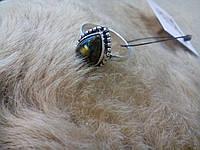Кольцо с натуральным камнем лабрадор в серебре.
