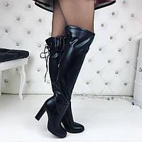 Женские черные ботфорты деми экозамш флис