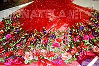 Эвросетка купон  з вышитими цветами с бусинками