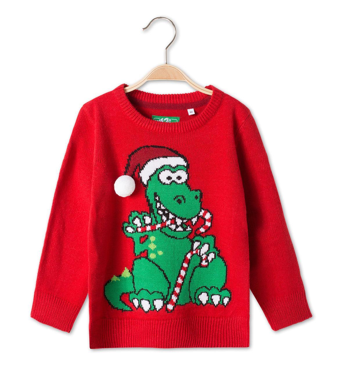 Новогодний красный свитер с крокодилом для мальчика 4-5 лет C&A Германия Размер 110