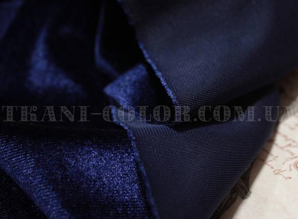 Ткань бархат стрейч темно-синий, фото 2