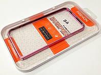 Чехол бампер металлический Fashion для Samsung Galaxy S6 розовый