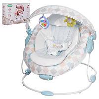 Шезлонг-качалка детский 60685A музыка, вибро, 2 положения, съемная арка с игрушками, в коробке