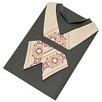 Женский вышитый кросс-галстук из льна бежевого цвета №669, фото 1