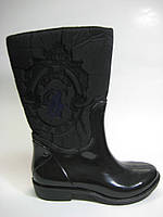 Резиновые женские ботинки черного цвета на молнии, фото 1