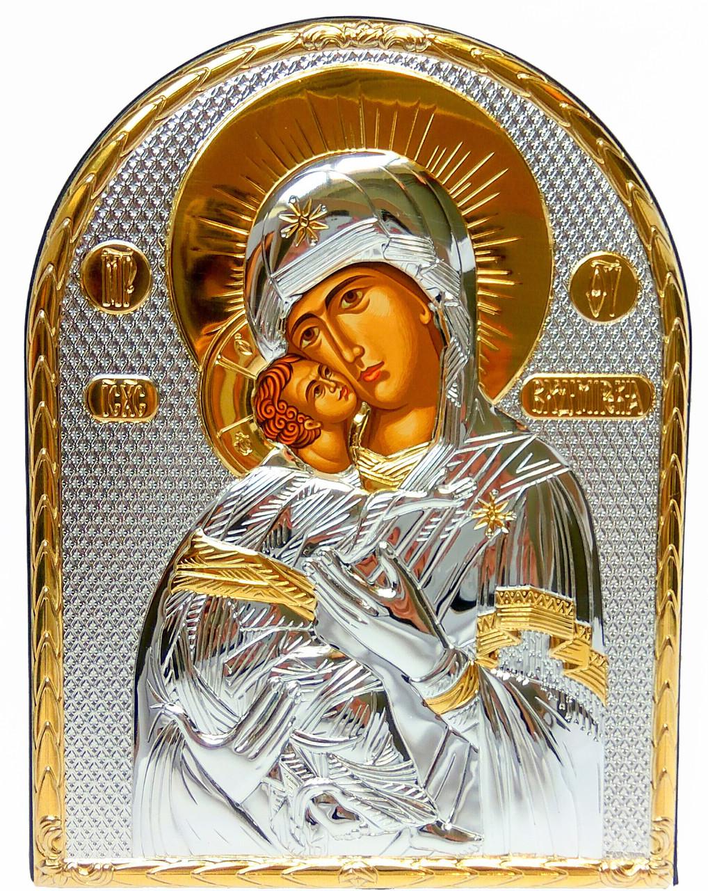 Икона Владимирская Божья Матерь серебряная в кожаной оправе 15,5 x 12 см