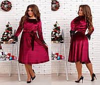 Женское бархатное платье по колено с поясом. Ткань: бархат. Размер: 48,50,52,54,56.