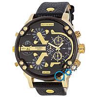 Черные мужские часы дизель с золотыми вставками, часы Diesel Brave