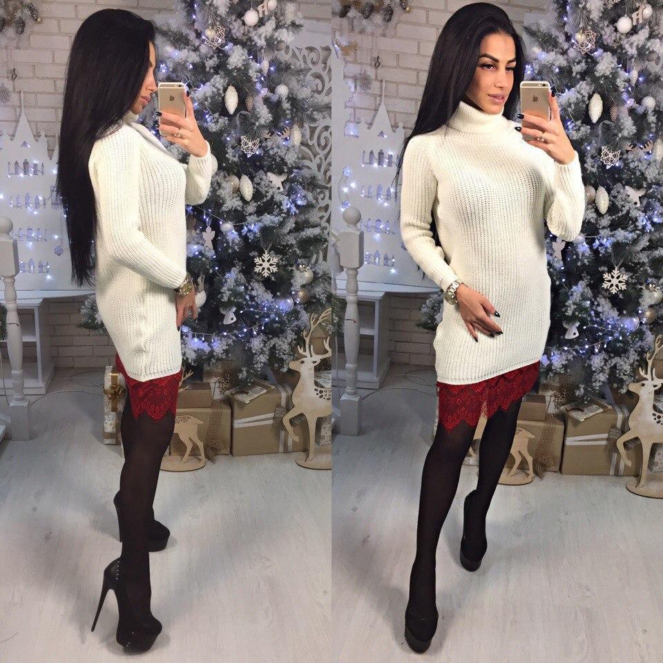 a91e5ad57ca Вязаное платье с кружевом по низу и высоким горлом 15268PL - Milagra в  Харькове