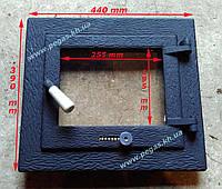 Дверца чугунная с жаропрочным стеклом (390х440)