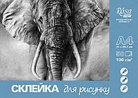 Склейка для рисунка А4, 50 листов, 100 г/м2, Rosa Studio, 169221297