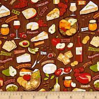 """Ткань для пэчворка и рукоделия американский хлопок """"Сыр и вино"""" - 24*55 см"""