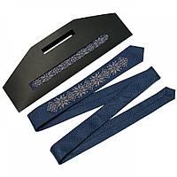 Тонкий унисекс галстук с вышивкой №660, фото 1