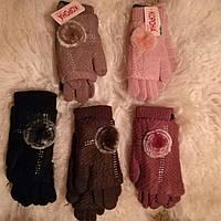 Женские рукавицы - перчатки с мехом кролика 2 в 1