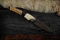 """Авторский нож ручной работы """"Клык"""", дамасск, зуб мамонта (наличие уточняйте)"""