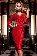Бархатное Вечернее Платье с Шикарным Поясом Красное S-XL