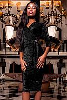 Бархатное Вечернее Платье с Шикарным Поясом Черное S-XL