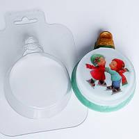 """Мыло-сувенир для рук """"Новогодний шар с картинкой/логотипом"""""""