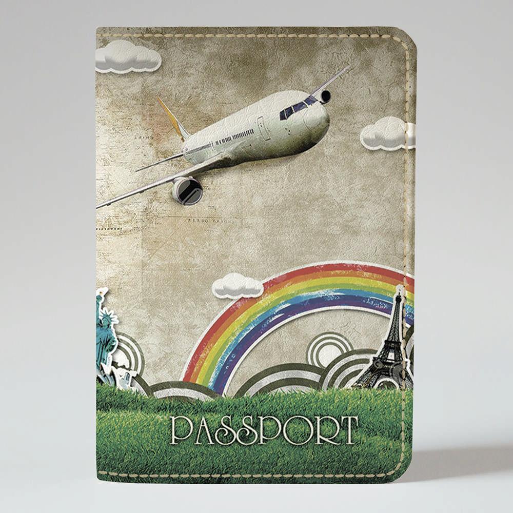 Обложка на паспорт v.1.0. Fisher Gifts 04 Рисованный самолет (эко-кожа)
