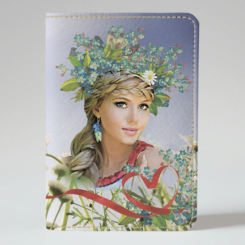 Обложка на паспорт Fisher Gifts 42 Украинка. Голубые цветы (эко-кожа)