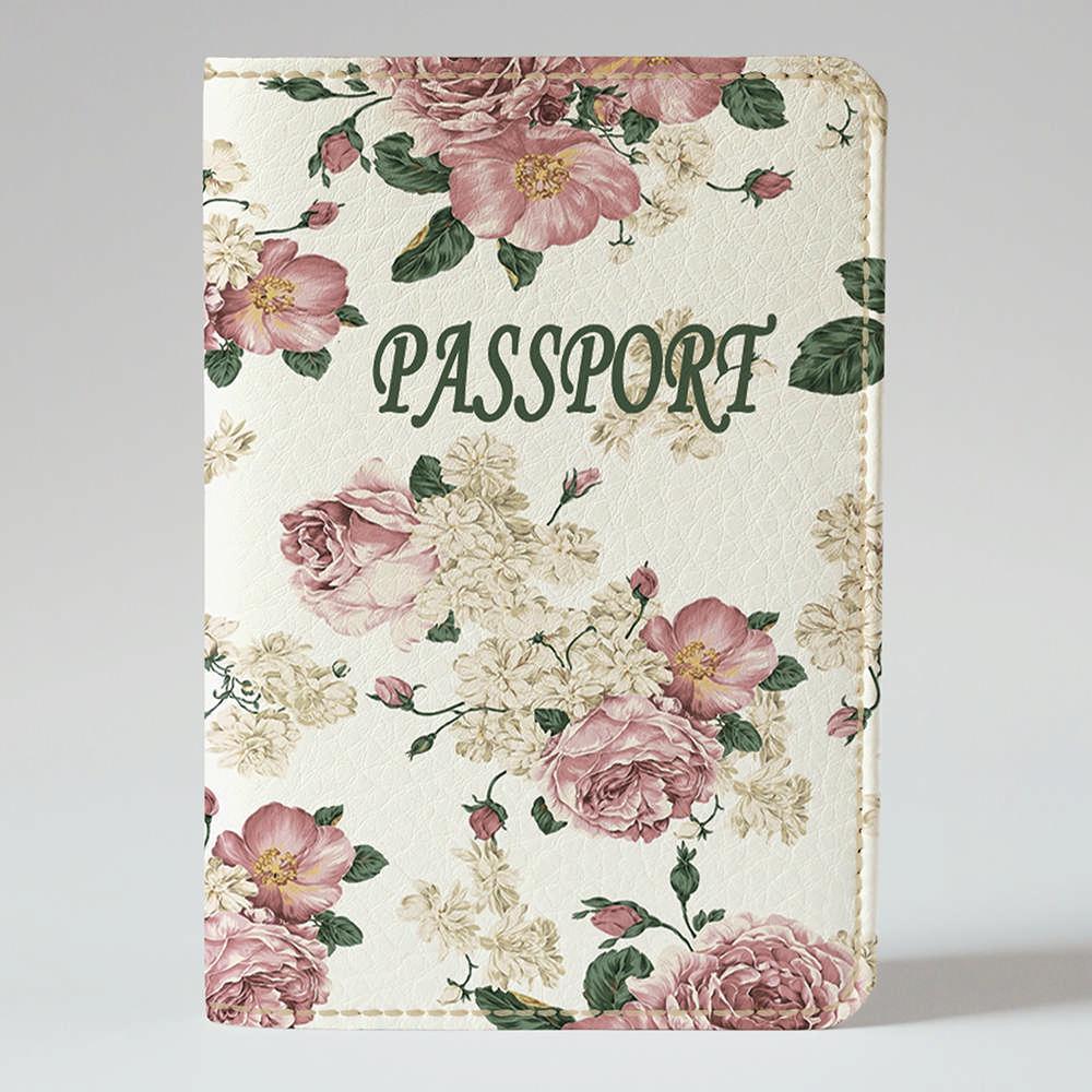 Обложка на паспорт v.1.0. Fisher Gifts 75 Весенние розы фон (эко-кожа)