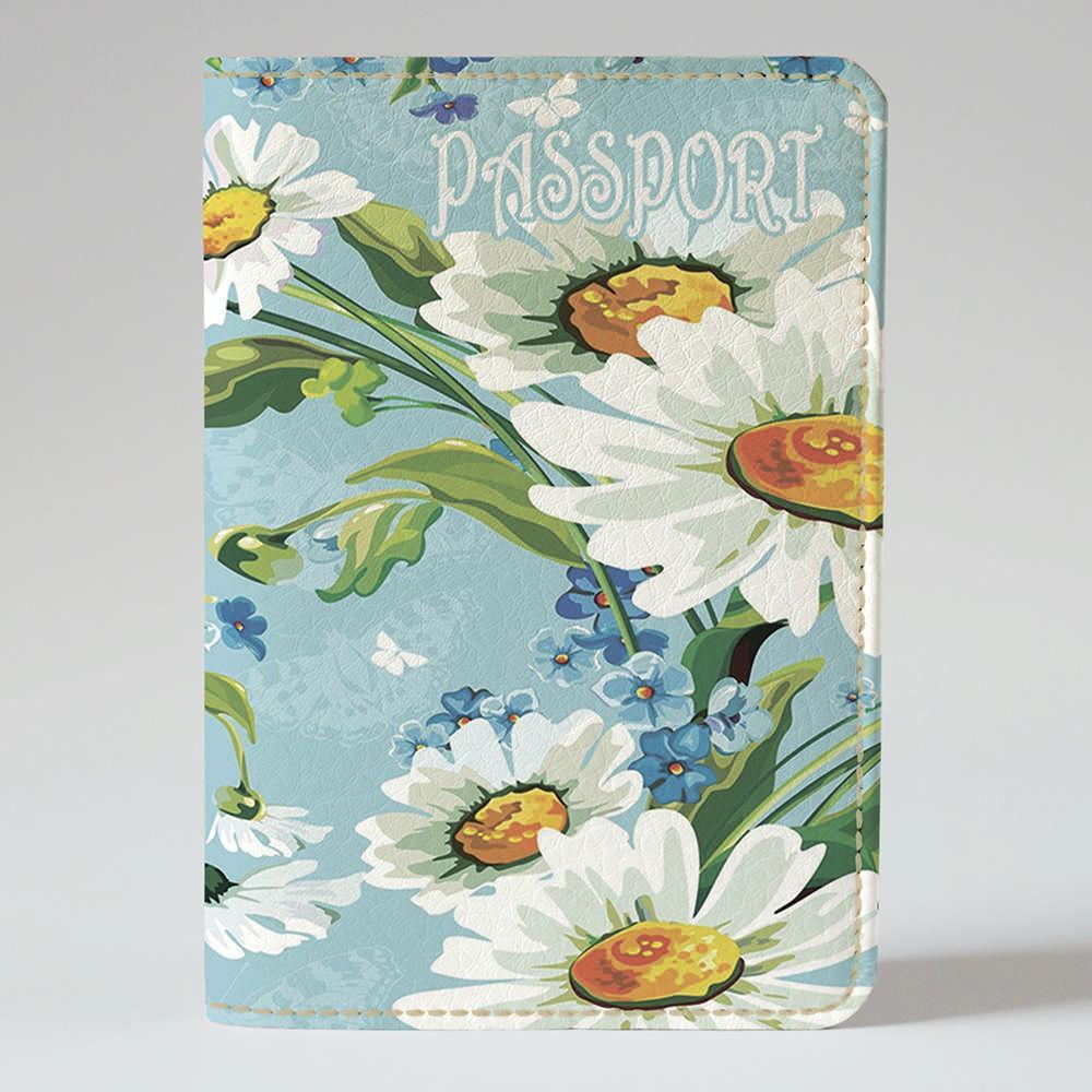 Обложка на паспорт v.1.0. Fisher Gifts 82 Прекрасные рисованные ромашки (эко-кожа)