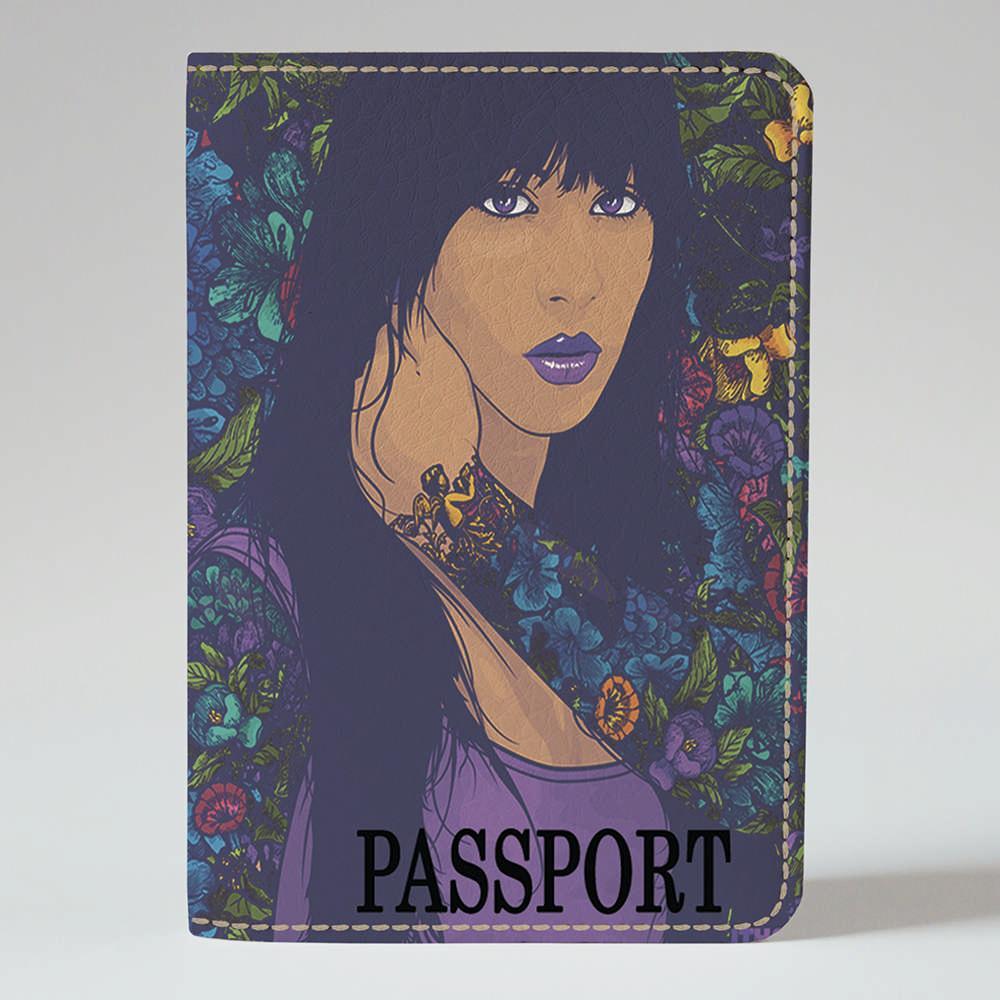 Обложка на паспорт Fisher Gifts 100 Девушка в цветах (эко-кожа)