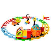 Детский магнитный конструктор - железная дорога с локомотивом на 69 деталей, 9069A