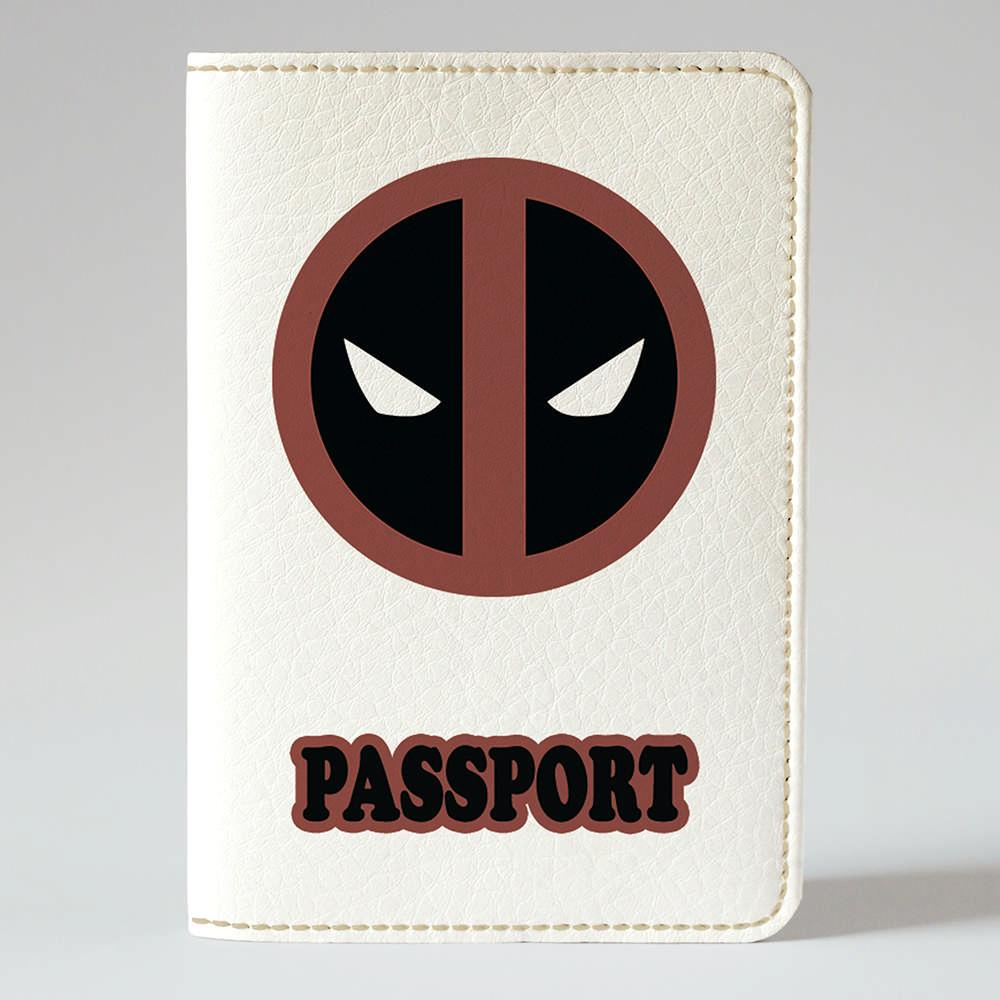 Обложка на паспорт v.1.0. Fisher Gifts 104 Дэдпул логотип (эко-кожа)