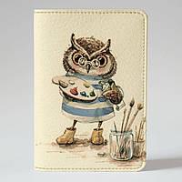 Обложка на паспорт Fisher Gifts 120 Совушка художник (эко-кожа)