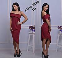 Женское платье с открытыми плечами и ассиметричным низом, в расцветках электрик