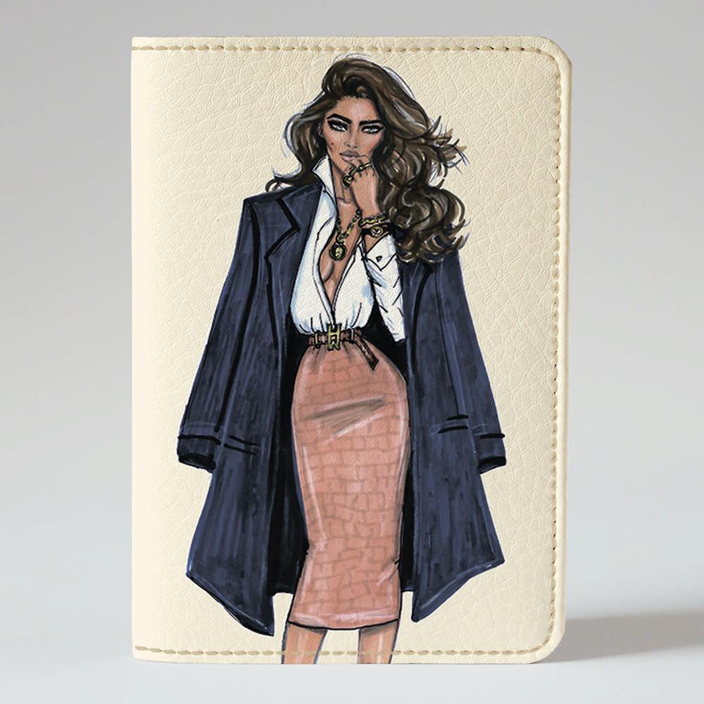 Обложка на паспорт v.1.0. Fisher Gifts 160 Девушка VOGUE 12 (эко-кожа)