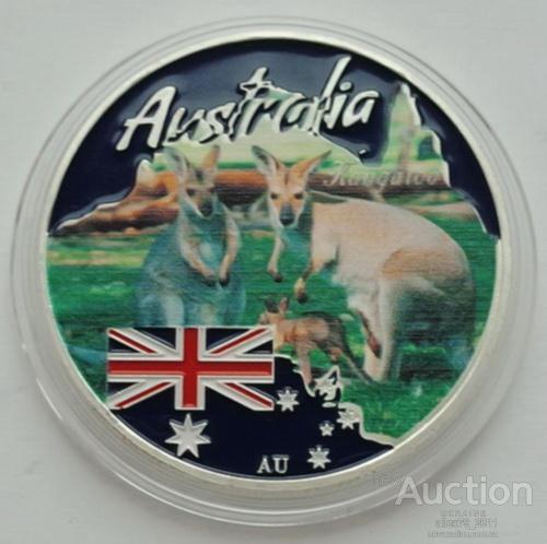 Тувалу. Дикий світ Австралії. Кенгуру. 1 Dollar 2017 р.