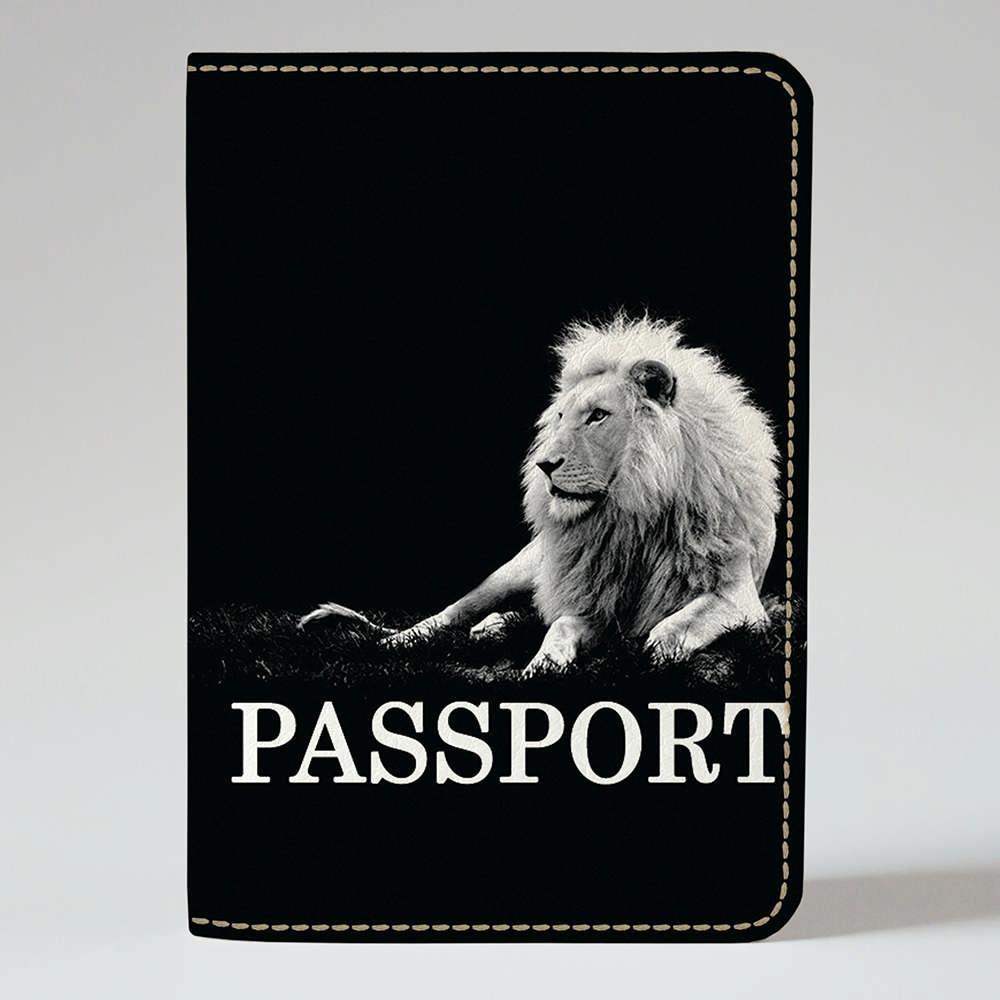 Обложка на паспорт v.1.0. Fisher Gifts 190 Белый лев в темноте (эко-кожа)