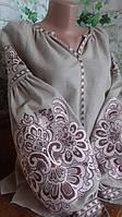 """Вишиванка жіноча блузка """"Павлін"""" тканина бежива льон"""