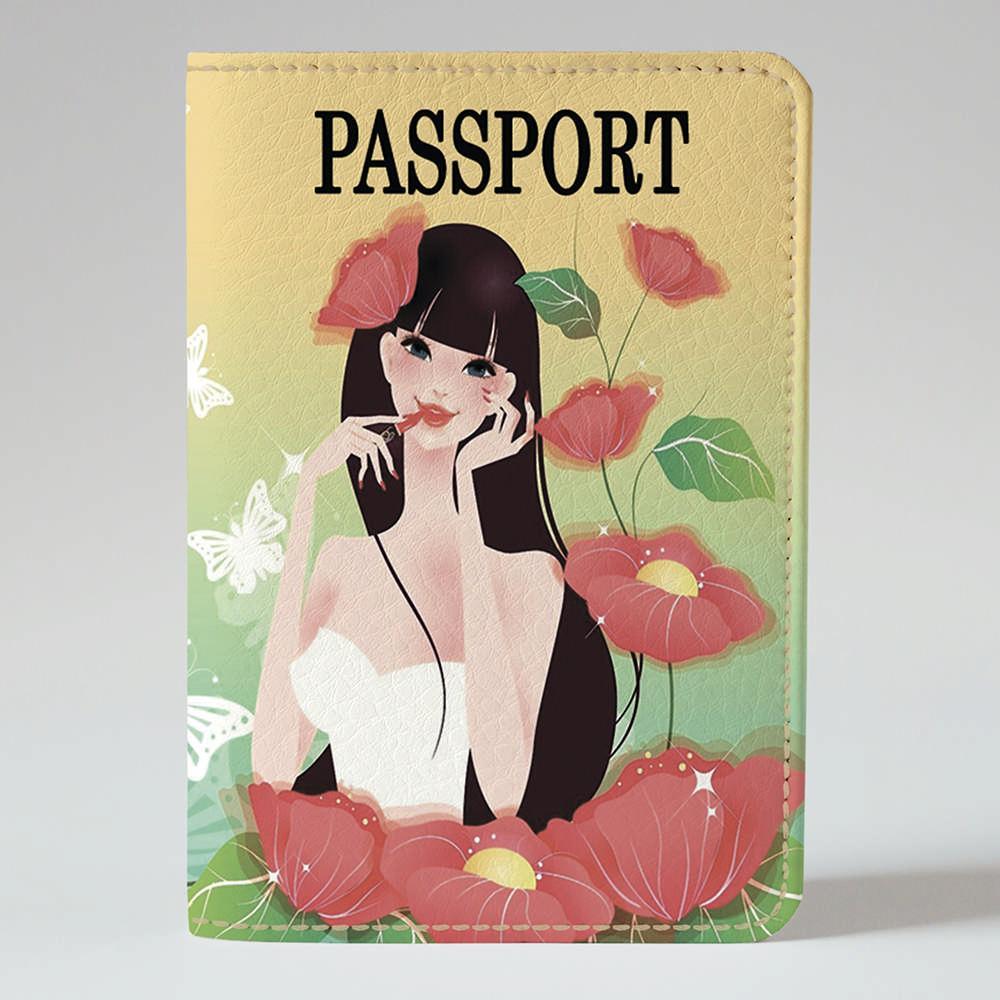 Обложка на паспорт Fisher Gifts 213 Девушка в маках (эко-кожа)