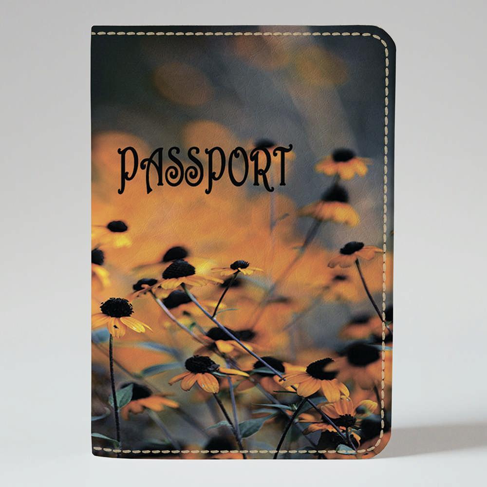 Обложка на паспорт v.1.0. Fisher Gifts 230 Оранжевые ромашки (эко-кожа)